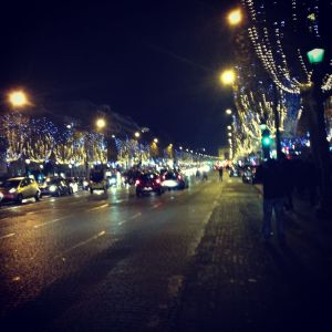 The lights along the street